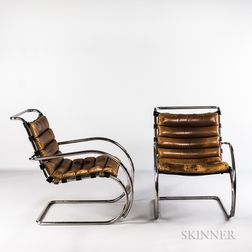 "Two Ludwig Mies van der Rohe for Knoll International ""MR"" Lounge Chairs"