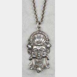 Sterling Silver Satyr Mask Pendant, Buccellati