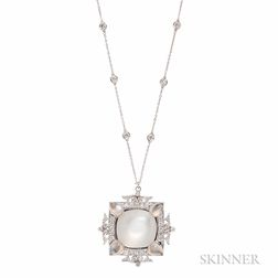 18kt White Gold, Cat's-eye Moonstone, and Diamond Pendant