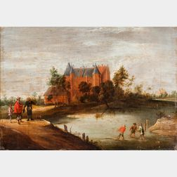 School of David Teniers II (Flemish, 1610-1690)      Figures in a Landscape, Castle Beyond