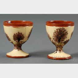 Rare Pair of Mochaware Egg Cups