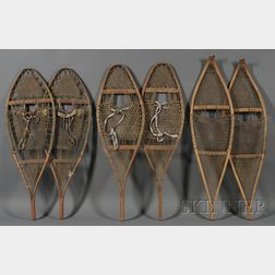 Three Pairs of Wood and Hide Snowshoes