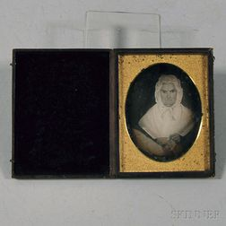 Quarter-plate Daguerreotype of a Folk Art Portrait of an Elderly Woman with Her   Knitting