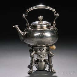 Tiffany & Co. Japanesque Sterling Silver Tea Kettle on Stand