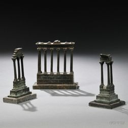 Three Grand Tour Bronze Models of Buildings in the Roman Forum