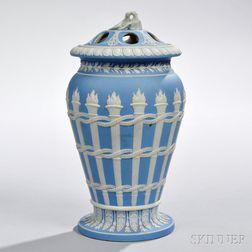 Wedgwood Light Blue Jasper Dip Torches Vase and Cover