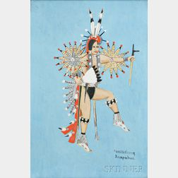 Framed Watercolor by Carl Sweezy (Southern Arapaho, 1881-1951)
