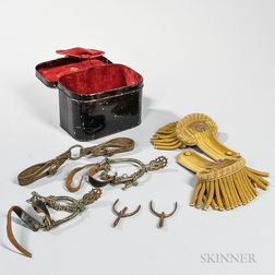 Naval Epaulets,Tin Case, and Spurs