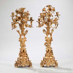 Pair of Napoleon III Gilt-bronze Five-light Figural Candelabra
