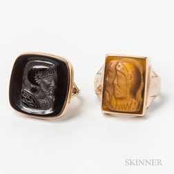 Two Gold Cameo Rings
