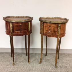 Pair of Louis XVI-style Inlaid, Veneered, and Ormolu-mounted Side Tables