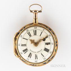 Jean Baptiste Baillon 18kt Gold Enameled Open-face Watch