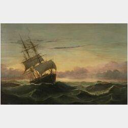 Mary Blood Mellen (American, b. 1817)  Three Master in Rough Seas
