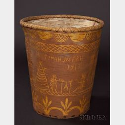 Northeast Pictorial Birch Bark and Wood Wastepaper Basket