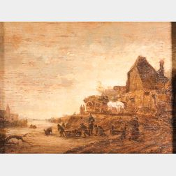 After Adriaen van Ostade (Dutch, 1610-1685)      Landscape with Canal, Village Houses, and Figures on the Ice