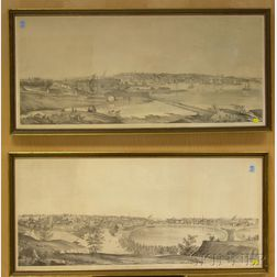 Pair of F. Michelin Lithographs View of Providence, R.I. from the North/South   1849