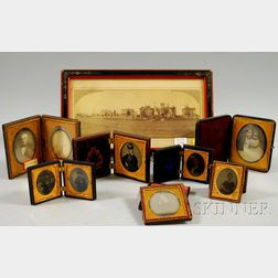Eight Cased Early Photographic Portraits and a Framed Panoramic Photographic View of   State Street, Springfield, Massachusetts,