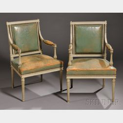 Pair of Louis XVI-style Painted and Leather-upholstered Fauteuils