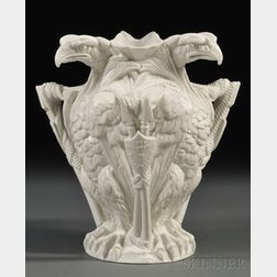 American Centennial Memorial Parian Vase with Eagles and Shields