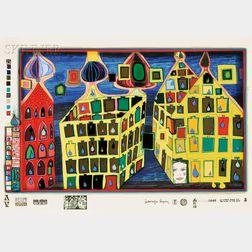 Friedensreich Hundertwasser (Austrian, 1928-2000)      It Hurts to Wait with Love if Love is Somewhere Else