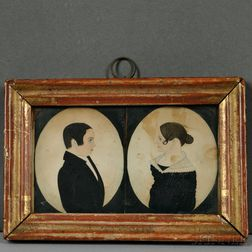 Justus Dalee (New York/Wisconsin, 1793-1878)      Double Miniature Portrait of a Man and Woman