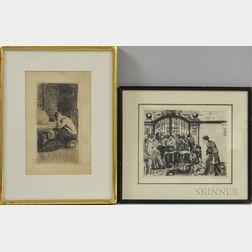 Käthe Kollwitz (German, 1867-1945)      Two Framed Etchings