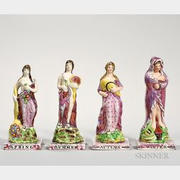 Assembled Set of Sunderland Pink Lustre Decorated Figures of the Four Seasons