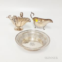 Two Sterling Silver Sauceboats and a Reticulated Dish