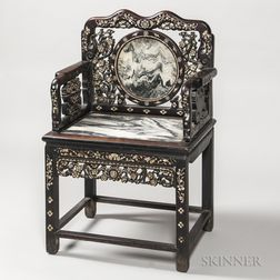 Mother-of-pearl and Marble-inlaid Armchair
