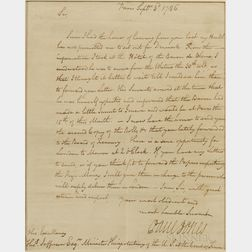 Jones, John Paul (1747-1792) Secretarial Letter Signed, Paris, 3 September, 1786.