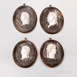 Set of Four Carved Marble Relief Portraits