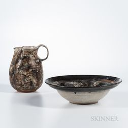 Studio Art Pottery Pitcher and Basin