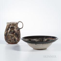 Studio Art Pottery Pitcher and Basin