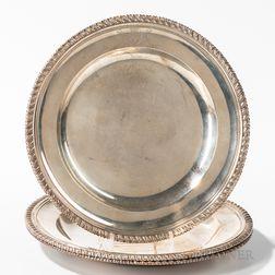 Three Georgian Sterling Silver Plates