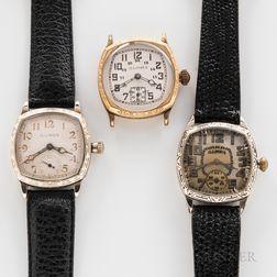 """Three Illinois Watch Co. """"Devon"""" Wristwatches"""