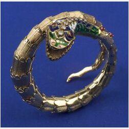 14kt Gold and Gem-set Snake Bracelet