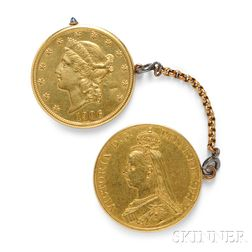 Two Gold Coin Watches, Cartier, Janesich