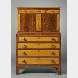 Federal Mahogany and Wavy Birch Inlaid Desk Bookcase