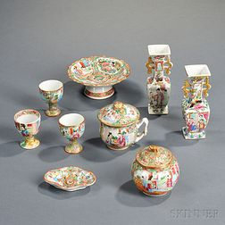 Nine Small or Miniature Rose Medallion Porcelain Objects