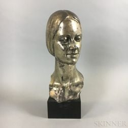 Edgardo Simone (New York, 1890-1958) Cast Metal Bust of a Woman
