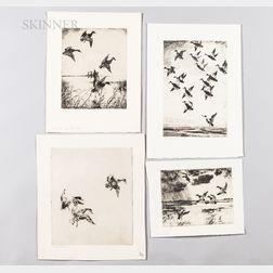 Frank Weston Benson (American, 1862-1951)      Four Unframed Waterfowl Etchings:   Black Ducks Towering