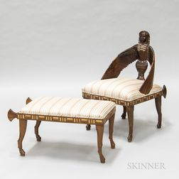 Egyptian Revival Carved and Inlaid Hardwood Side Chair and Ottoman