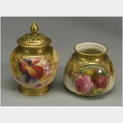 Two Royal Worcester Porcelain Potpourri Vases