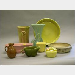 Nine Pieces of Assorted Art Pottery