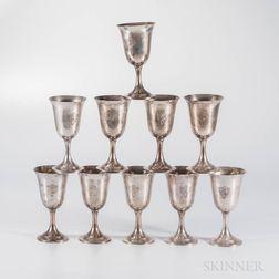 Ten International Sterling Silver Goblets