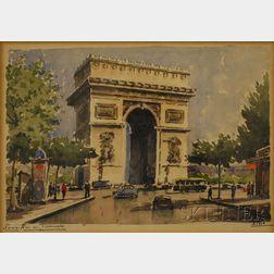 French School, 20th Century      Paris-Arc de Triomphe.