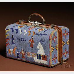 Rare and Historic Plains Pictorial Beaded Suitcase