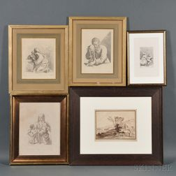 Five Framed Italian Etchings:, , , Francesco Bartolozzi (Italian, 1727-1815), Four Etchings after Francesco Barbieri, called Il Guercin