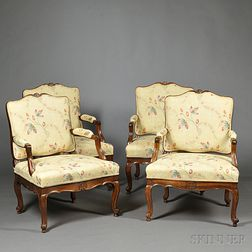 Four Louis XV-style Beechwood Fauteuil
