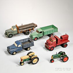 Six Painted Wood Truck and Tractor Models